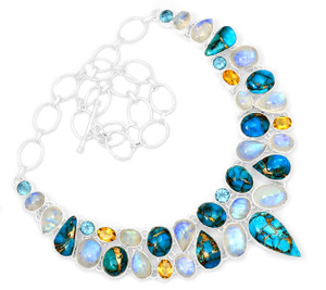 80g Blue Copper Turquoise 925 Sterling Silver Cluster Necklace Jewelry RNE1705