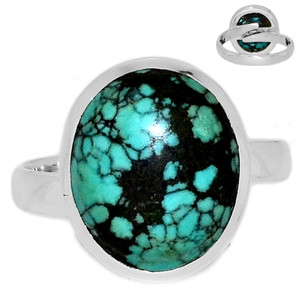 Adjustable Ring - TibetanTurquoise 925 Silver Ring Jewelry s.8.5 TQSR2021