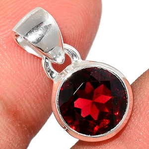 Faceted Garnet 925 Sterling Silver Pendant  Jewelry GNFP233