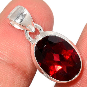 Faceted Garnet 925 Sterling Silver Pendant  Jewelry GNFP251