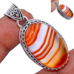 14g Lake Superior Agate 925 Sterling Silver Pendant  Jewelry LSAP239