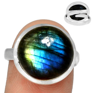 Adjustable Ring - Multi Fire Labradorite 925 Silver Ring Jewelry s.9 MFLR573