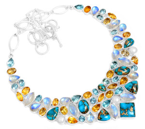 88g Blue Copper Turquoise 925 Sterling Silver Cluster Necklace Jewelry RNE1684