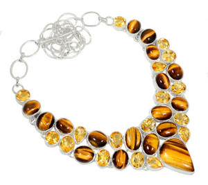 82g Tiger Eye & Citrine 925 Sterling Silver Cluster Necklace Jewelry RNE1655