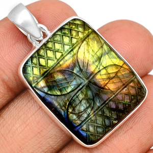 14g Carved Multi Fire Labradorite 925 Sterling Silver Pendant  Jewelry CLBP333