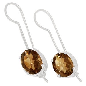 Smokey Quartz 925 Sterling Silver Earrings Jewelry E2149S