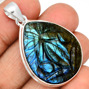 14g Carved Multi Fire Labradorite 925 Sterling Silver Pendant  Jewelry CLBP352