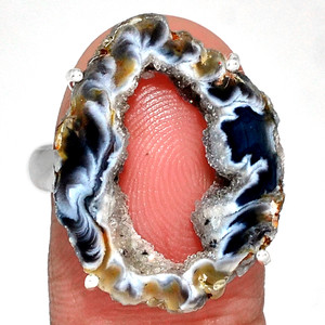 Geode Druzy 925 Sterling Silver Ring Jewelry s.9 GODR312