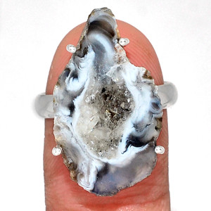 Geode Druzy 925 Sterling Silver Ring Jewelry s.9 GODR320