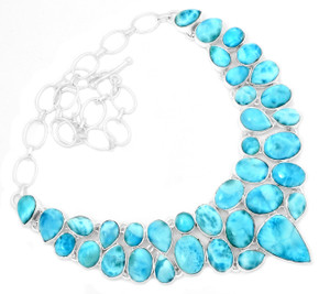 96g Larimar - Dominican Republic 925 Silver Cluster Necklace Jewelry RNE1686