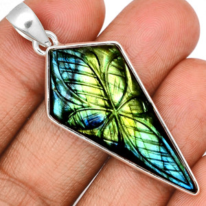 14g Carved Multi Fire Labradorite 925 Sterling Silver Pendant  Jewelry CLBP326