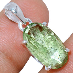 Faceted Green Kyanite 925 Sterling Silver Pendant  Jewelry GKFP41