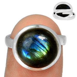 Adjustable Ring - Multi Fire Labradorite 925 Silver Ring Jewelry s.7.5 MFLR571