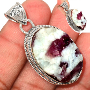 13g Pink Tourmaline in Quartz 925 Sterling Silver Pendant  Jewelry PTQP282
