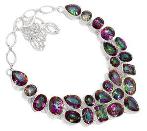 104g Rainbow Topaz 925 Sterling Silver Cluster Necklace Jewelry RNE1612