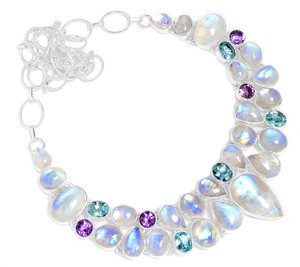 78g Blue Fire Rainbow Moonstone 925 Silver Cluster Necklace Jewelry RNE1670