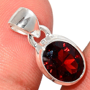 Faceted Garnet 925 Sterling Silver Pendant  Jewelry GNFP237