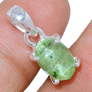 Faceted Green Kyanite 925 Sterling Silver Pendant  Jewelry GKFP55