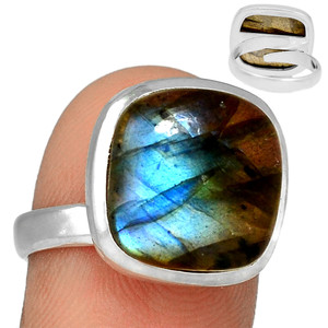 Adjustable Ring - Multi Fire Labradorite 925 Silver Ring Jewelry s.8 MFLR556