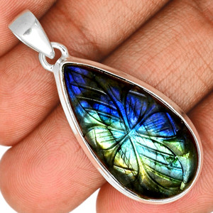 Carved Multi Fire Labradorite 925 Sterling Silver Pendant  Jewelry CLBP305