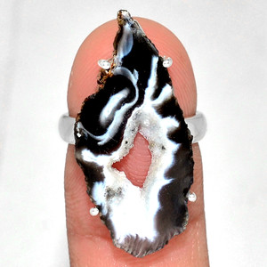 Geode Druzy 925 Sterling Silver Ring Jewelry s.6 GODR313