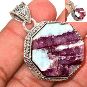 15g Pink Tourmaline in Quartz 925 Sterling Silver Pendant  Jewelry PTQP289