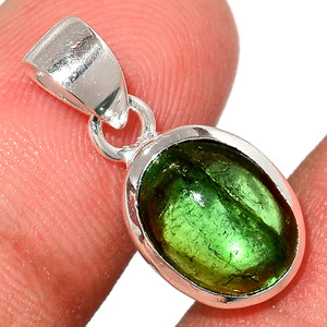Green Tourmaline Cab 925 Sterling Silver Pendant  Jewelry TUCP72