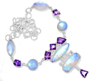49g Blue Fire Rainbow Moonstone 925 Silver Cluster Necklace Jewelry RNE1711