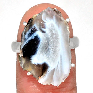 Geode Druzy 925 Sterling Silver Ring Jewelry s.8 GODR325