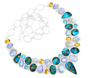 79g Blue Copper Turquoise 925 Sterling Silver Cluster Necklace Jewelry RNE1707