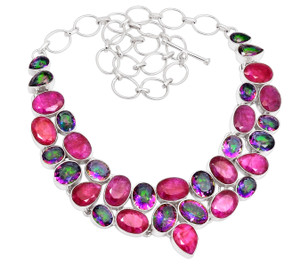 87g Ruby & Rainbow Topaz 925 Sterling Silver Cluster Necklace Jewelry RNE1630