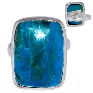 Adjustable Ring - Chrysocolla Peru 925 Sterling Silver Ring Jewelry s.7 CCPR367