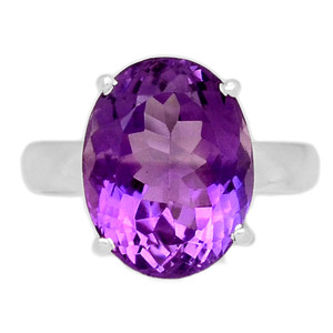 Faceted Amethyst 925 Sterling Silver Ring Jewelry s.8.5 AMFR783