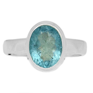 Faceted Aquamarine 925 Sterling Silver Ring Jewelry s.7.5 AQFR1313