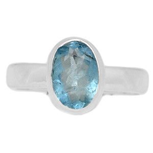 Faceted Aquamarine 925 Sterling Silver Ring Jewelry s.7 AQFR1364