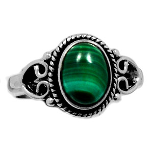Malachite 925 Sterling Silver Ring Jewelry s.5 MALR1345
