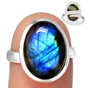 Adjustable Ring - Multi Fire Labradorite 925 Silver Ring Jewelry s.8 MFLR560