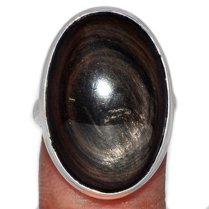 Obsidian Eye 925 Sterling Silver Ring Jewelry s.8 OBER21