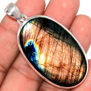 19g Purple Fire Labradorite 925 Sterling Silver Pendant  Jewelry PFLP1291