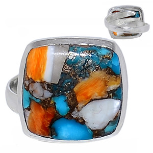 Adjustable Ring - Spiny Oyster Arizona Turquoise 925 Silver Ring s.8 SOTR938