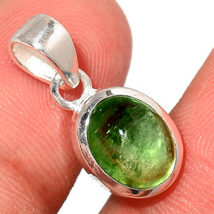 Green Tourmaline Cab 925 Sterling Silver Pendant  Jewelry TUCP53