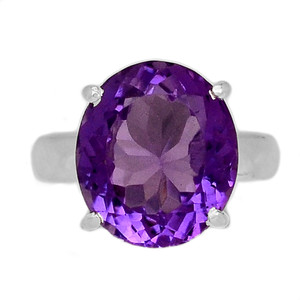 Faceted Amethyst 925 Sterling Silver Ring Jewelry s.6 AMFR792