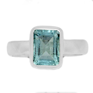 Faceted Aquamarine 925 Sterling Silver Ring Jewelry s.6.5 AQFR1319
