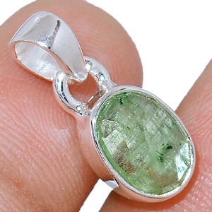 Faceted Green Kyanite 925 Sterling Silver Pendant  Jewelry GKFP64