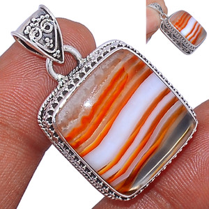 13g Lake Superior Agate 925 Sterling Silver Pendant  Jewelry LSAP234