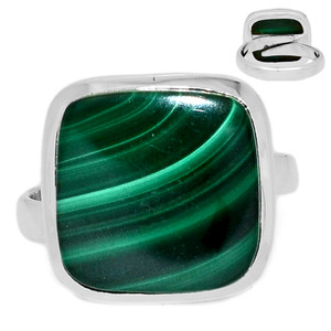 Adjustable Ring - Malachite 925 Sterling Silver Ring Jewelry s.8.5 MALR1354