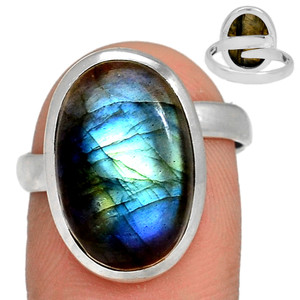 Adjustable Ring - Multi Fire Labradorite 925 Silver Ring Jewelry s.8.5 MFLR567