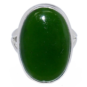 Nephrite Jade 925 Sterling Silver Ring Jewelry s.7.5 NFZR402