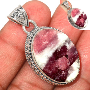 13g Pink Tourmaline in Quartz 925 Sterling Silver Pendant  Jewelry PTQP278