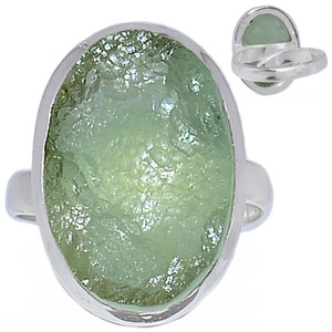 Adjustable Ring - Prehnite Druzy 925 Sterling Silver Ring Jewelry s.7 PNDR60